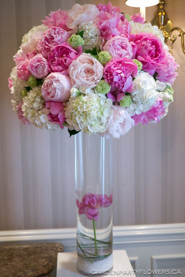 Pink White And Green Wedding Tall Centrepieces Pinterest