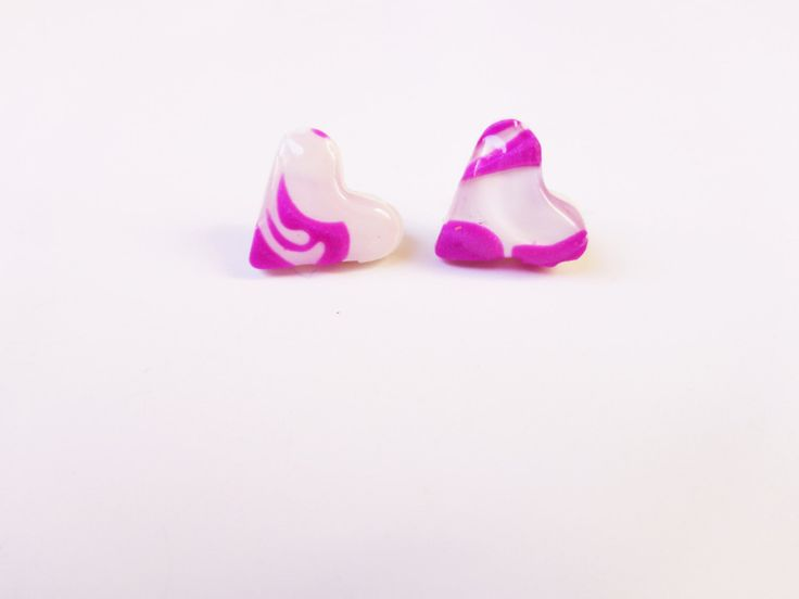 Heart Stud Earrings, 2cm Polymer Clay Heart Earrings, Stainless Earrings For Sensitive Ears, Gift For Her, Christmas Gift For Women by FairyDustHC on Etsy