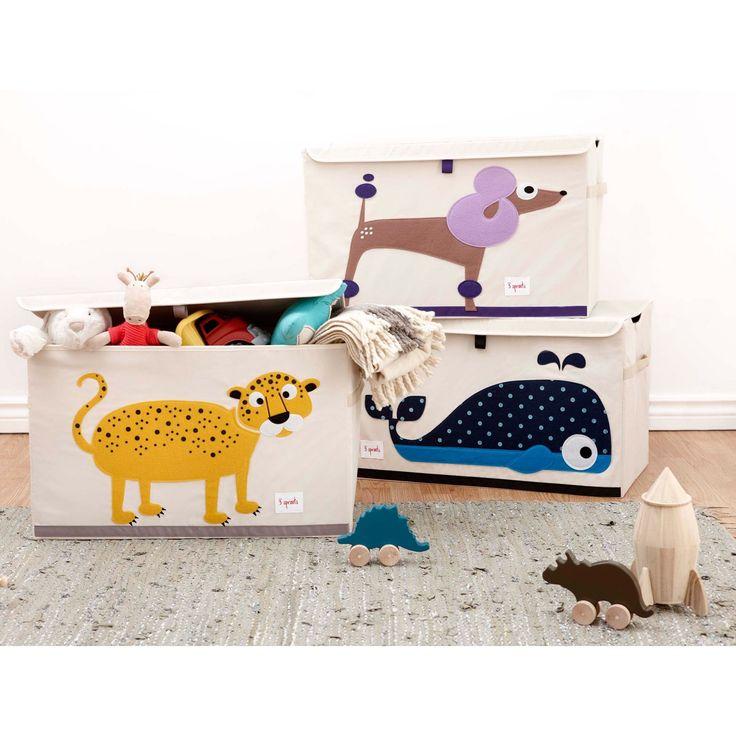 Décoration chambre d'enfant ou de bébé : caisse de rangement Animaux baleine, léopard et chien, couvercle souple qui se referme avec du velcro - Berceau Magique