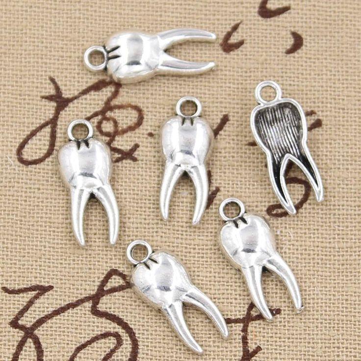 99 Cents 12 cái Charms zombie răng răng mol 20*8 mét Antique Làm pendant phù hợp, Vintage Tây Tạng bạc, vòng đeo tay DIY vòng cổ