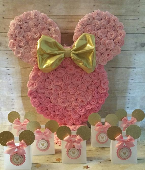 Oro y rosa Minnie Mouse Piñata Oro Minnie por HeidiPartyCreations