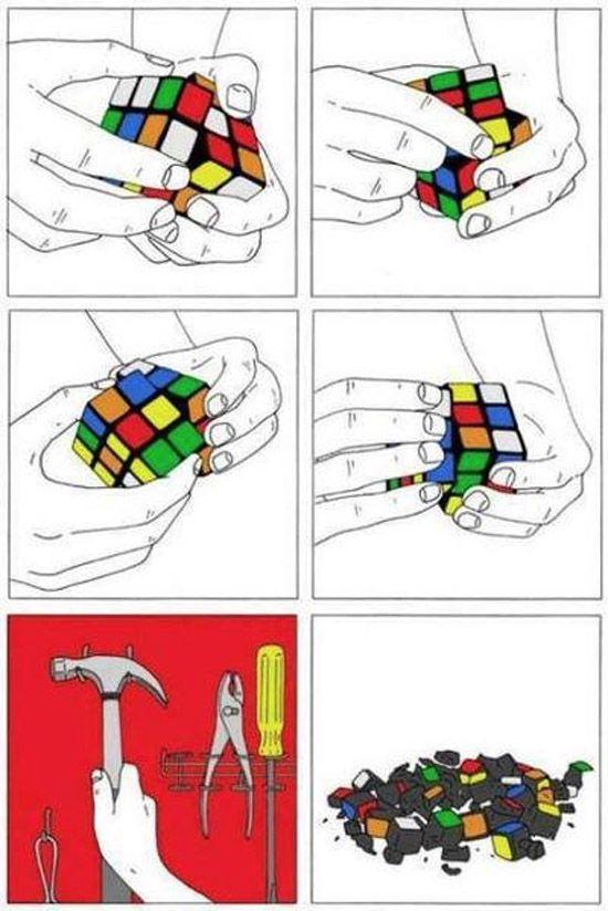 Solución al cubo de Rubik.