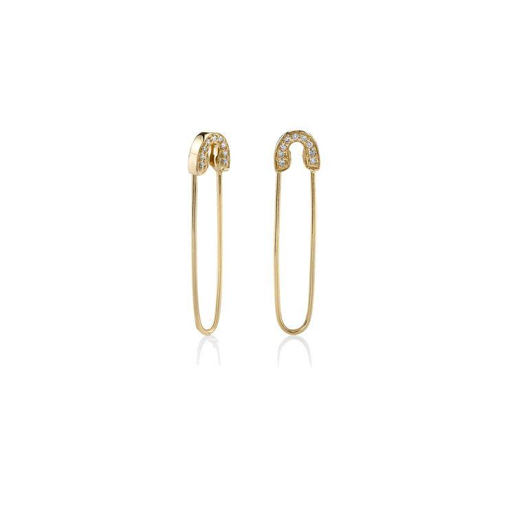 Yellow-Gold & Diamond Safety Pin Earrings - Earrings - Jewelry - Sydney Evan