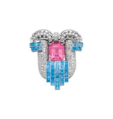 A TOURMALINE, AQUAMARINE AND DIAMOND BROOCH | brooch, aquamarine | Christie's