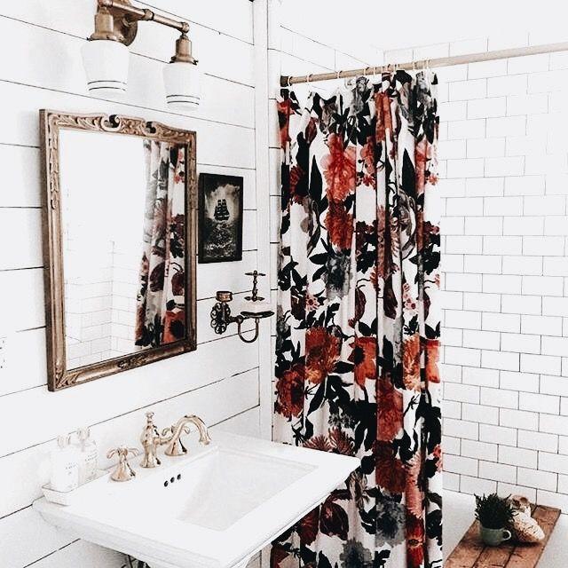 Bold print shower curtain | Bathroom | Home