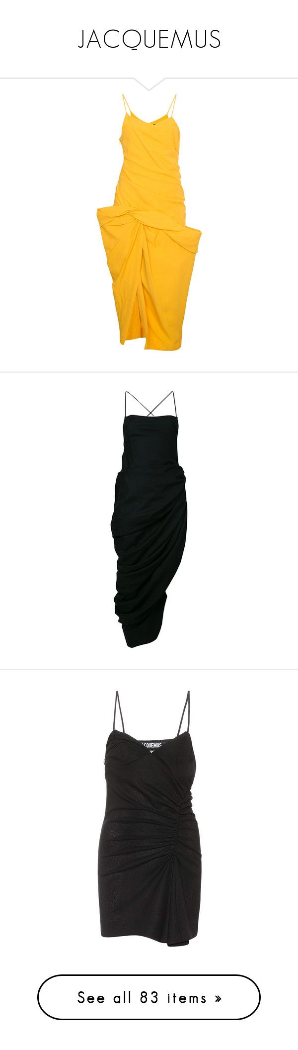 """JACQUEMUS"" by mari-sv ❤ liked on Polyvore featuring dresses, strap dress, strappy dress, yellow dress, draped dress, jacquemus, black, mid length dresses, open back dresses and square neck spaghetti strap dress"