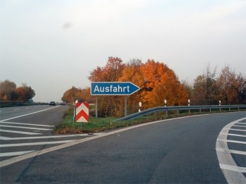 """Ausfahrt"" is German for Exit. When we first moved we thought Ausfarht was a town....and apparently all exits led there. It seems many Americans have had the same thought. I have a souviner mug with the caption, ""Where in the heck is Ausfahrt, Germany?"""