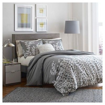 Branches Comforter And Sham Set Full/Queen Gray - City Scene