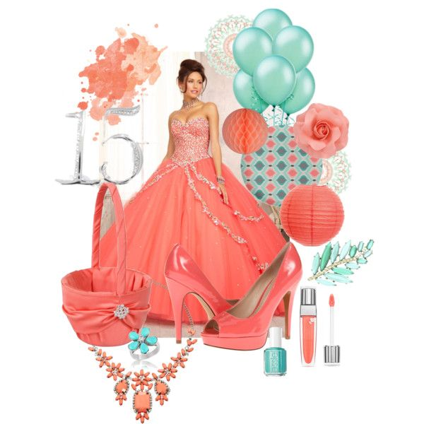 """Coral and Aqua Sweet Fifteen Theme"" by quincecandles on Polyvore"