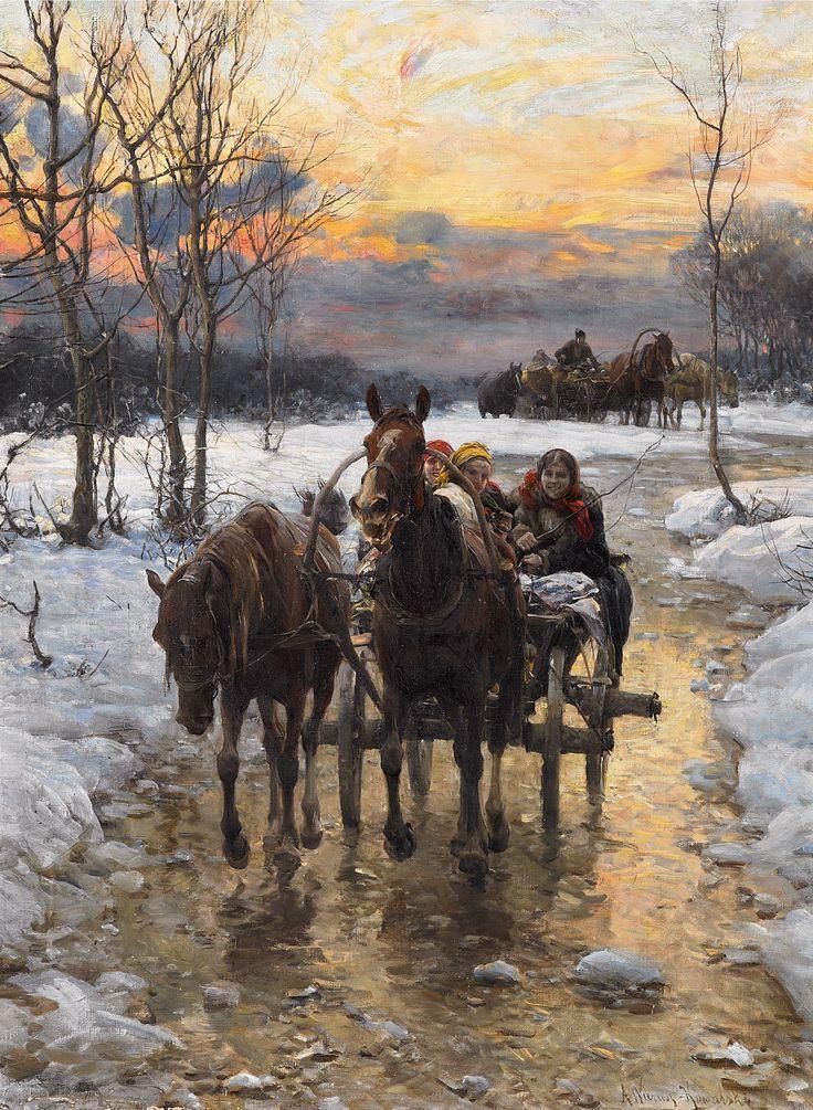 ALFRED WIERUSZ-KOWALSKI (1849 - 1915)  POWRÓT PRZED ZMIERZCHEM   olej, płótno / 61,5 x 47 cm