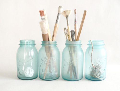 Jam Jar Paint Brush Holders