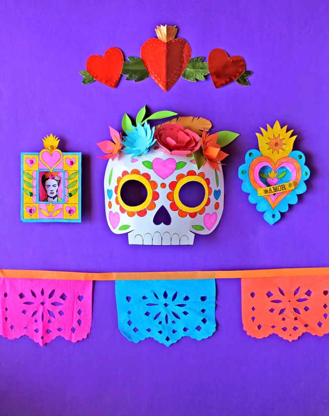 Craft activities & printables from Happythought's Day of the Dead Craft Activity pack! Tutorials and templates at happythought.co.uk