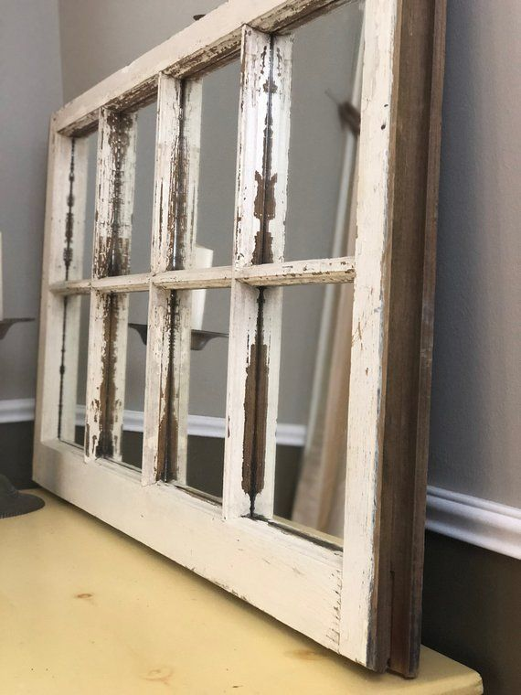 Rustic Wall Mirror Farmhouse Mirror Made With A Vintage Window Frame Rustic Wall Mirrors Mirror Design Wall Framed Mirror Wall