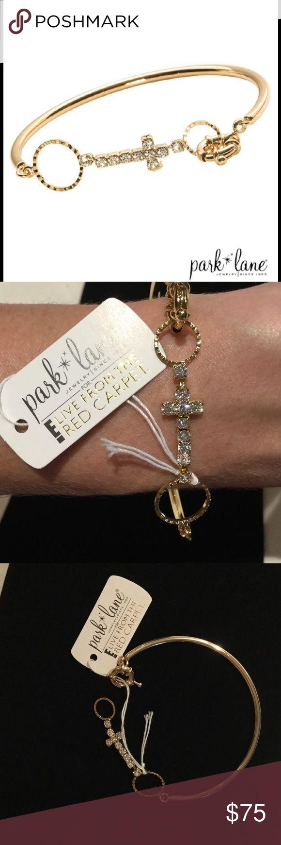 {Park Lane} Gold/CZ Cross Bangle/Hook bracelet. NWT Park Lane Gold/CZ Cross Bangle/Hook bracelet. Park Lane Jewelry Bracelets