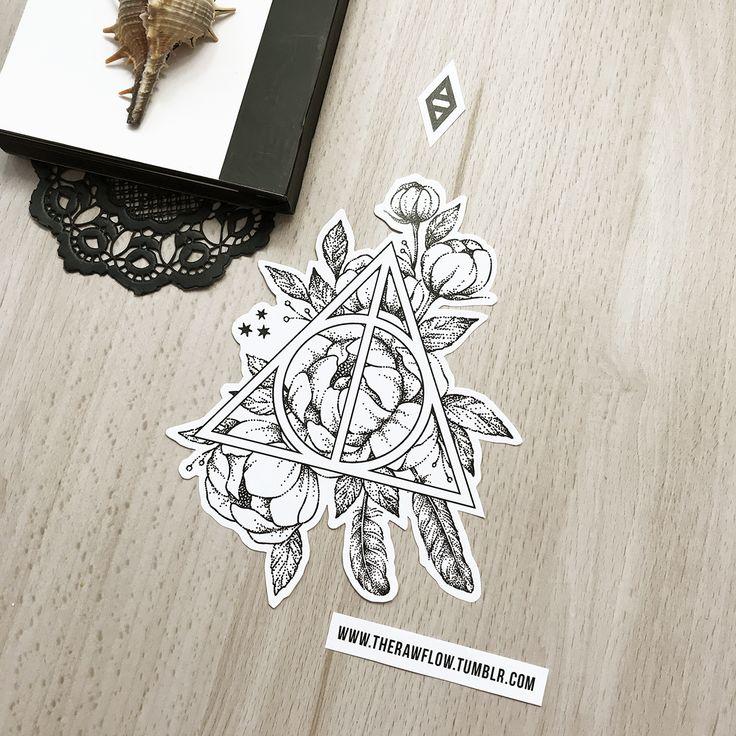 Dotwork Deathly Hallow Blumen Tattoo Design – enthalten in meiner Mega Harry Potter Design-Kollektion! Infos und Download: www.rawaf.shop/tattoo/collections