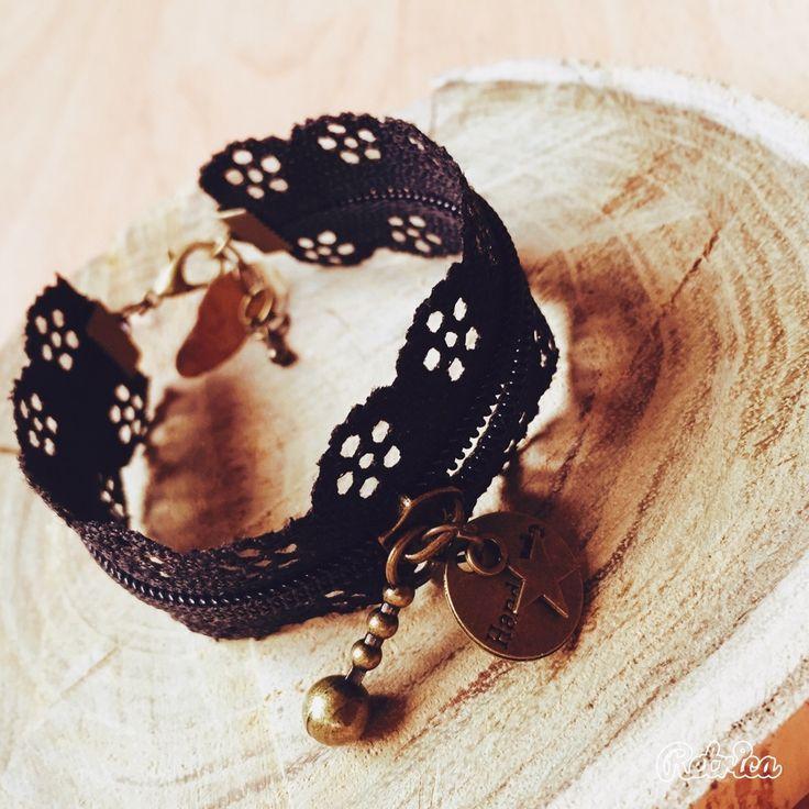 Bracelet fermeture eclair dentelle noir : Bracelet par passion-biijoux
