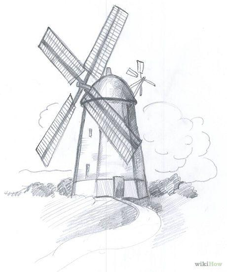 выбрать, рисовать мельницу по картинках часть