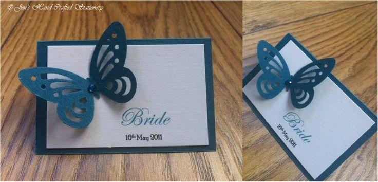 Teal butterfly Wedding Place Card  www.jenshandcraftedstationery.co.uk www.facebook.com/jenshandcraftedstationery