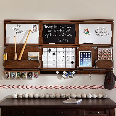 How awesome is this organization system. Love the baseball theme! Organize-It System, Rustic Wood #pbteen