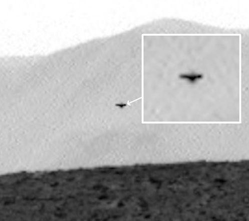 UFO escuro em Marte, Imagem Curiosity Rover - 14 de julho de 2014: