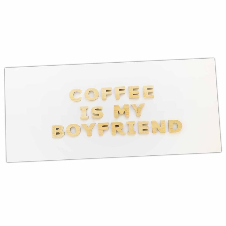 "Kristi Jackson ""Coffee Is My Boyfriend"" Typography Beige Desk Mat"
