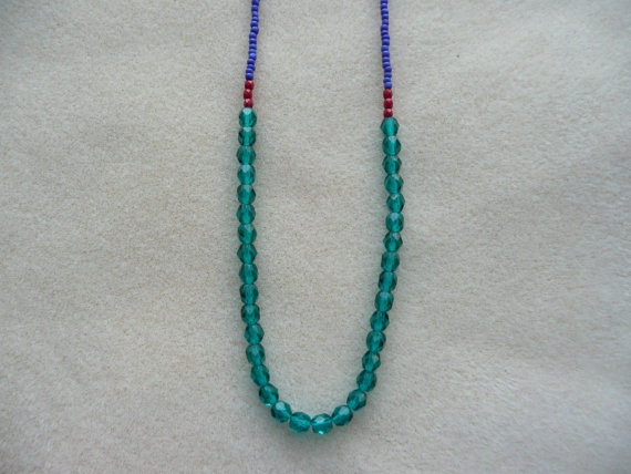 Teal, Blue & Red Necklace by ColourClub