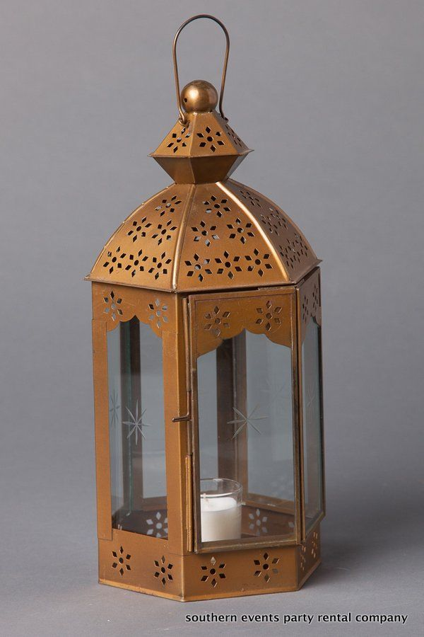Vintage Gold Tabletop Lantern for an upscale Mediterranean tablescape