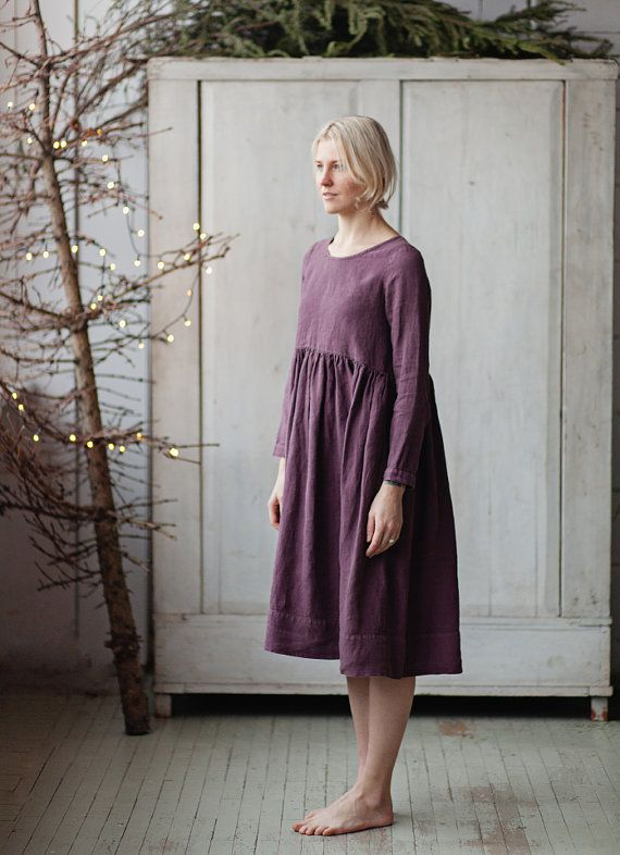 Linen Dress Dark Purple Long sleeve High waist by SondeflorShop