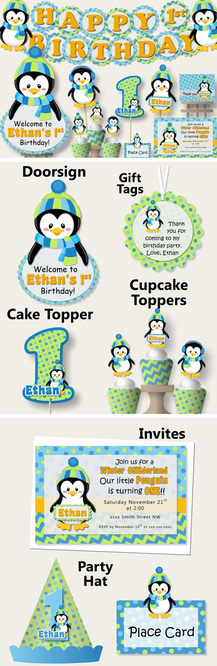 Penguin Birthday Party Supplies or Penguin Baby Shower Decorations -Party Package, Banner, Penguin Cake Topper, Cupcake, blue and green #bcpaperdesigns