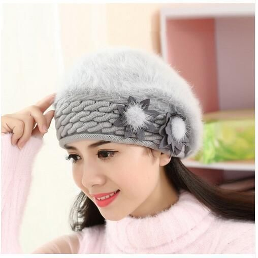 New Arrival Anti-Cold Beanies Female Winter Beanie Hats Rabbit Fur Warm Knitted Skullies Bonnet Ski Ear-Protect Adult Cap