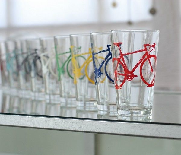 For the thirsty cyclist or the pint-a-day bike snob are these colorful hand-printed glasses from ...