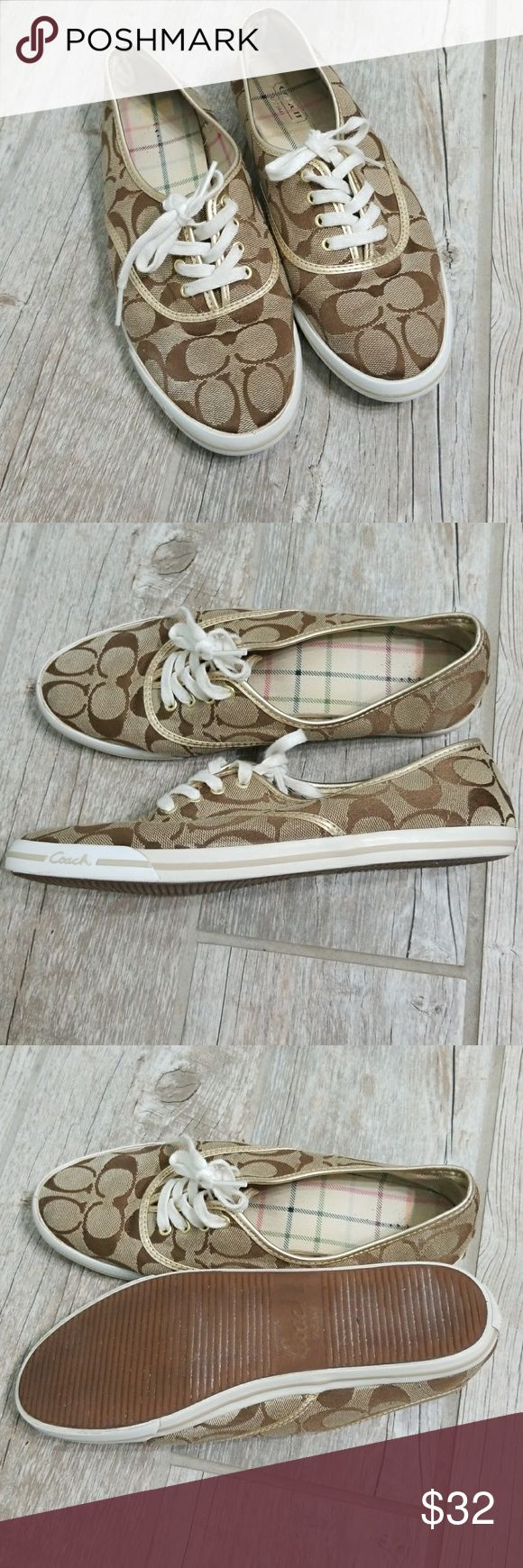 Coach tennis shoes Audrina brown with gold trimming C logo signature canvas Really cute and comfortable. Size 7.5 inside of sole is a little dirty due to normal wear no RIPS. Coach Shoes Flats & Loafers