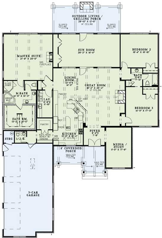 Traditional Style House Plans - 3307 Square Foot Home, 1 Story, 3 Bedroom and 2 3 Bath, 3 Garage Stalls by Monster House Plans - Plan 12-1262