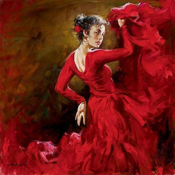 Oil Paintings sale - Andrew Atroshenko paintings - Andrew Atroshenko crimson dancer painting
