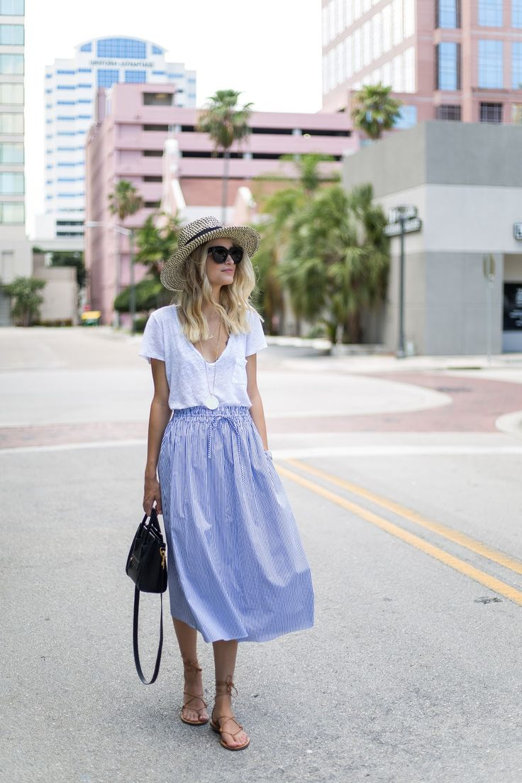 Striped Midi-Skirt + White T-Shirt | Little Blonde Book by Taylor Morgan