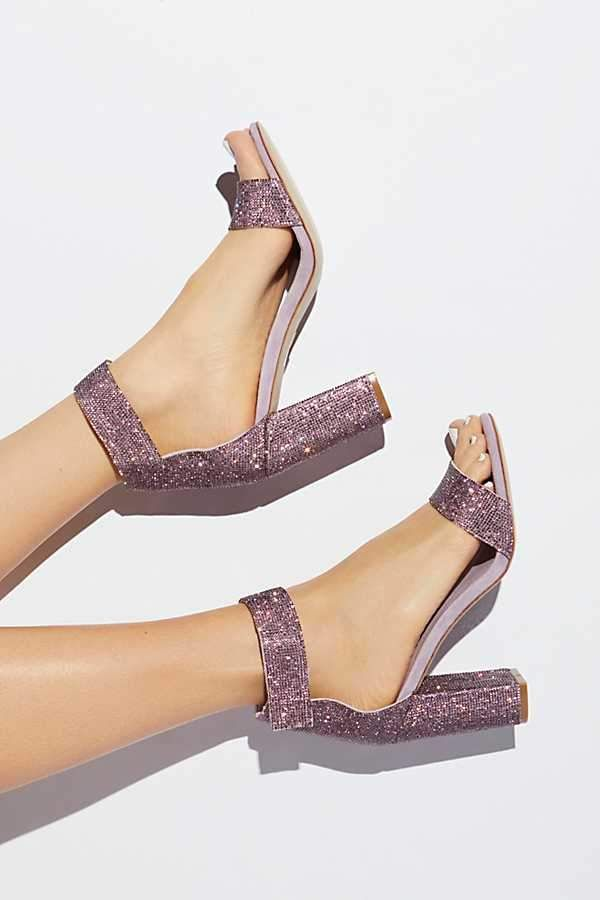 d533f8cc424 Jeffrey Campbell Sparkle And Shine Heel at Free People - These lilac  sparkly high heels are gorgeous. Sparkly heeled sandals with chunky block  heel.