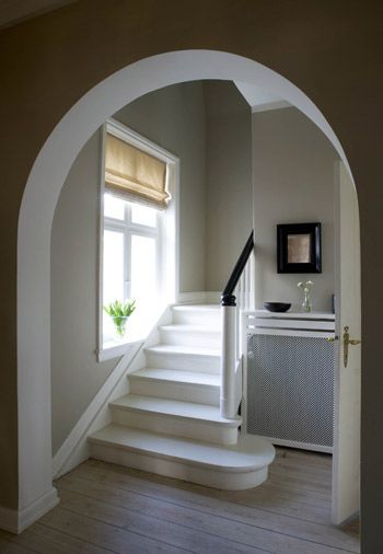 Walls in Farrow & Ball's Hardwick White Estate Emulsion. Stairs in Pointing Floor Paint.