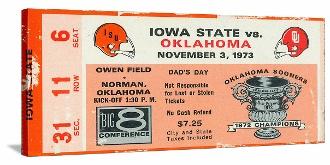 Oklahoma football art. http://www.shop.47straightposters.com/1973-Iowa-State-vs-Oklahoma-Football-Ticket-Art-73-OKLA.htm