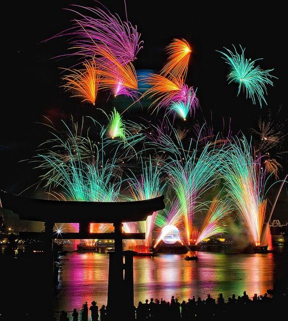Fireworks over the World Showcase pavilion- Epcot.