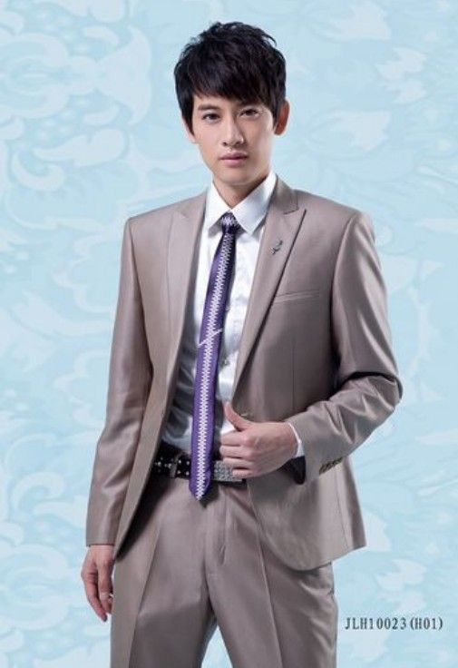 Buy Lapelled Single Button Groom Suit Light Coffee with cheapest price|Clothing-Dropship.com