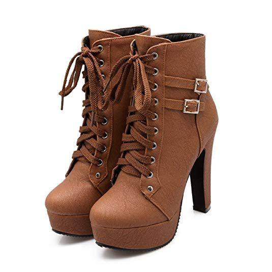 Susanny <b>Women</b> Autumn Round Toe Lace up Ankle Buckle <b>Chunky</b> ...