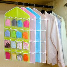 Creative Happy Gifts Housekeeping Storage Holders 16 Pockets Clear Hanging Bag Socks Bra Underwear Rack Hanger Storage Organizer(China (Mainland))