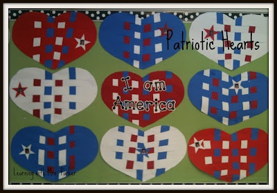 Teach students about patriotic colors before weaving these hearts.  Add the student's picture to the star.