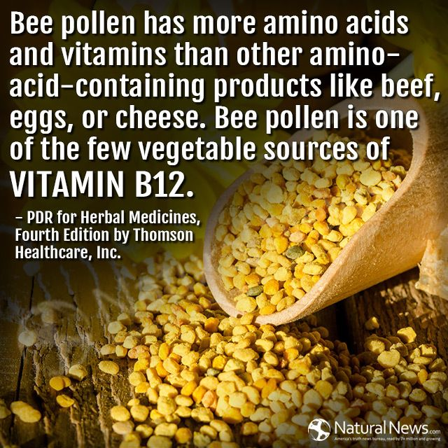 Bee pollen has more amino acids and vitamins than other amino-acid-containing products like beef, eggs, or cheese...