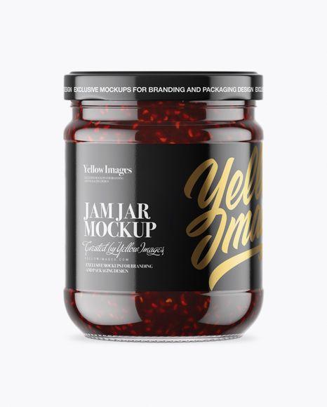 free mockup download clear glass jar with raspberry jam