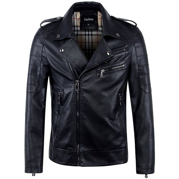 Chouyatou Men's Vintage Asymmetric Zip Lightweight Faux Leather Biker... ($60) ❤ liked on Polyvore featuring men's fashion, men's clothing, men's outerwear, men's jackets, mens faux leather jacket, mens lightweight jacket, mens faux leather moto jacket, mens moto jacket and mens fake leather jacket