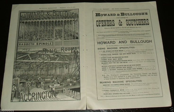 1887 Illustrated Double Page Ad, 1 engraved Factory View Howard & Bullough