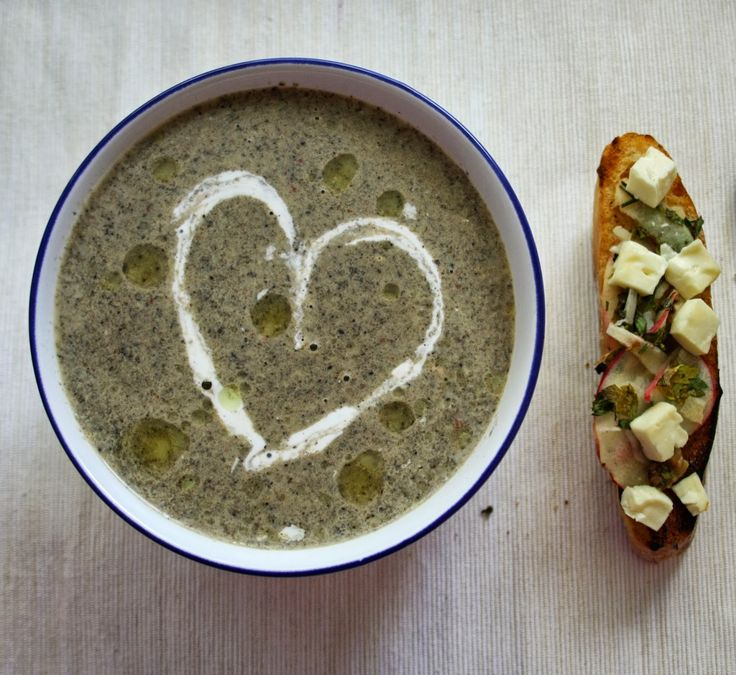 Roasted Portobello mushroom soup with feta, apple & walnut croûtes ...