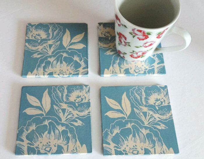 blue and white floral coasters - wooden square coasters - white flowers coasters - floral print - gift for nan - secret Santa gifts by SimplyImperfected on Etsy https://www.etsy.com/uk/listing/446549124/blue-and-white-floral-coasters-wooden