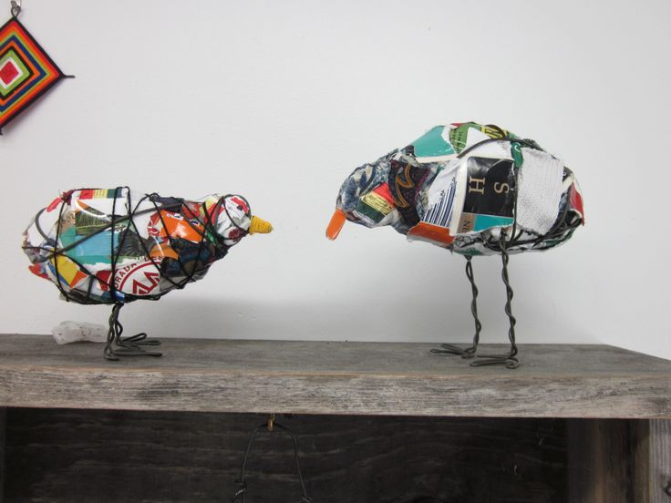 """repurposed & #recycled """"Trash Birds""""! #reducereuserecycle #gogreen"""